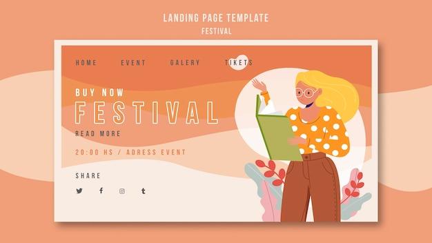 Reklama festiwalu szablonu strony docelowej
