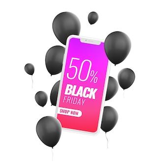 Reklama makieta aplikacji na czarny piątek