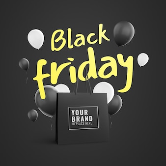 Reklama worek na zakupy w czarny piątek