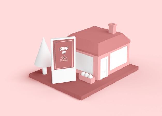 Reklama zewnętrzna z różowym budynkiem