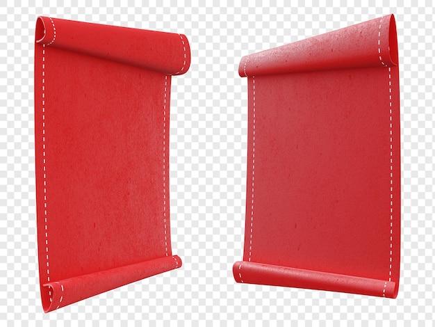 Rękopisy przewijania papieru czerwony list na białym tle
