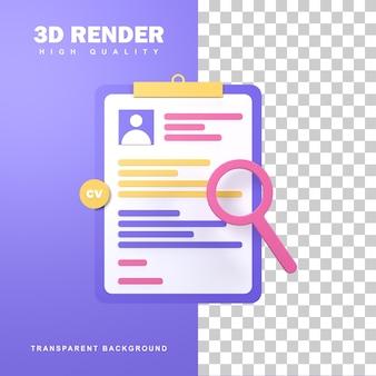 Rekrutacja 3d rendering pracowników ze wstążką.