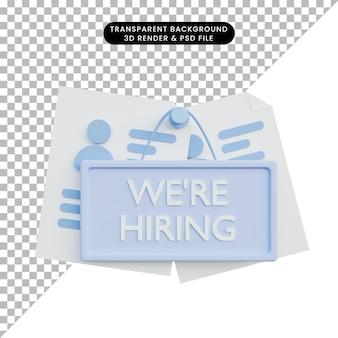 Rekrutacja ilustracji 3d ze znakiem zatrudniała i cv