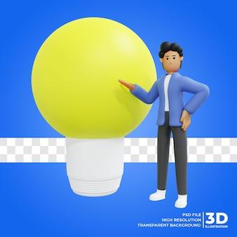 Render 3d męska postać myśli rendering 3d ilustracja 3d premium psd