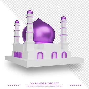 Rendering 3d islamskiego meczetu z błyszczącą kopułą