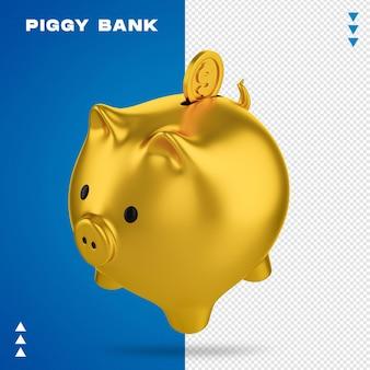 Rendering piggy bank izolowane