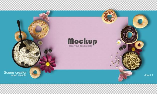 Rendering przedstawiający wyważoną kompozycję makiety potraw i słodyczy