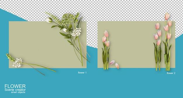 Renderingu 3d różnych kompozycji kwiatowych