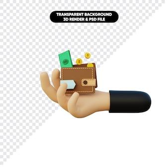 Renderingu 3d trzymaj pieniądze monety i portfel pod ręką