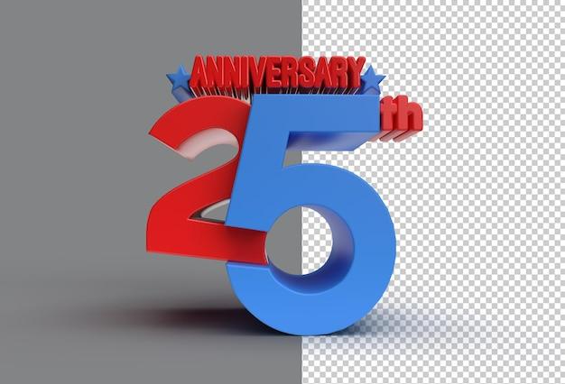 Renderowania 3d 25. rocznica obchody przezroczysty plik psd.