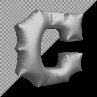 Renderowania 3d alfabetu litera c balon srebrny