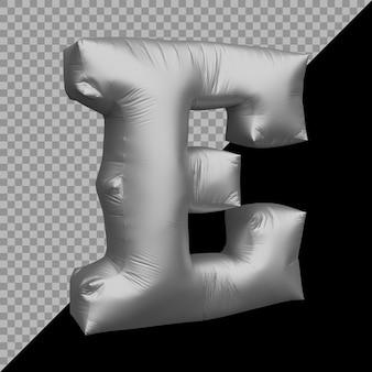 Renderowania 3d alfabetu litera e balon srebrny