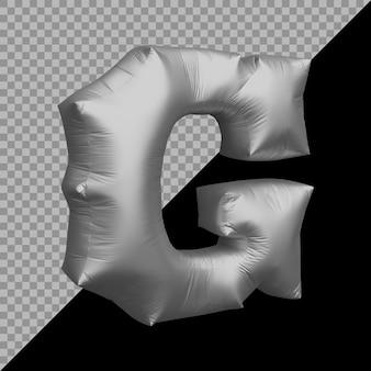 Renderowania 3d alfabetu litera g balon srebrny