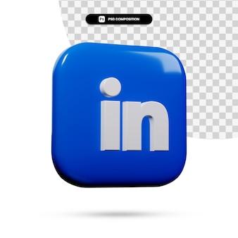 Renderowania 3d aplikacja logo linkedin na białym tle
