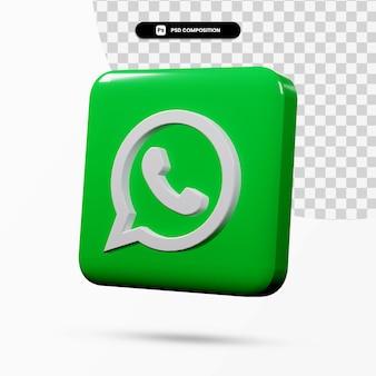 Renderowania 3d aplikacja logo whatsapp na białym tle