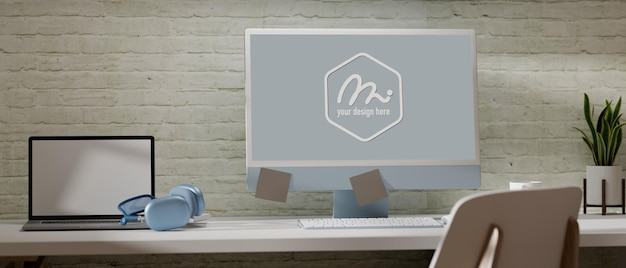 Renderowania 3d bliska widok biurka z makietą komputera