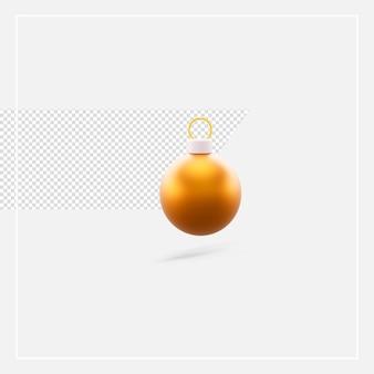 Renderowania 3d boże narodzenie złota piłka na białym tle