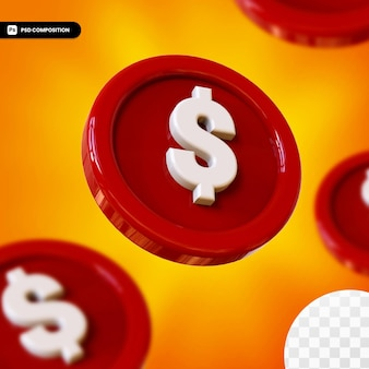 Renderowania 3d czerwony błyszczący monety na białym tle