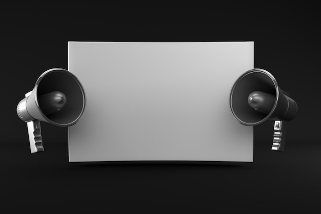 Renderowania 3d dwa pojedyncze megafon