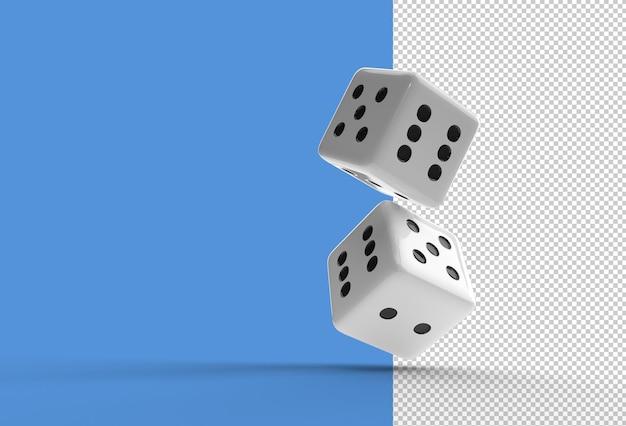 Renderowania 3d falling casino dice przezroczysty plik psd.