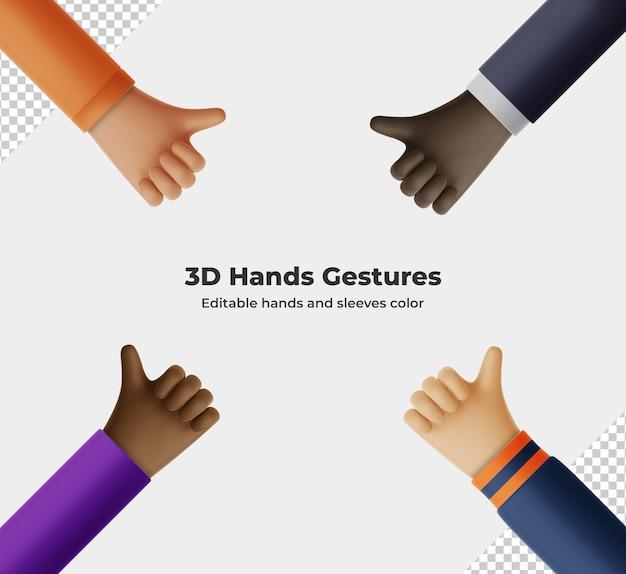 Renderowania 3d gest ręki kreskówka