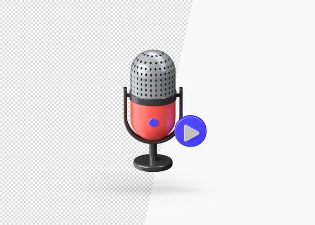 Renderowania 3d grać mikrofon na białym tle