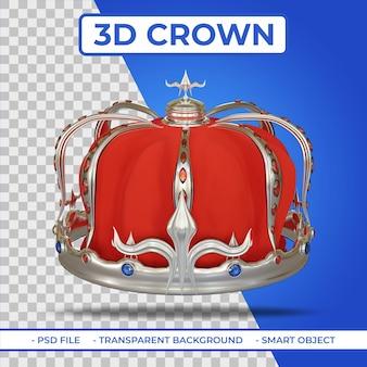 Renderowania 3d heraldyczne królewskie srebrne korony z klejnotem