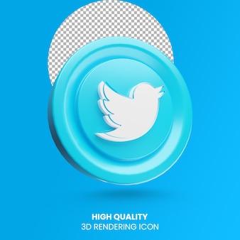 Renderowania 3d ikona logo mediów społecznościowych twittera