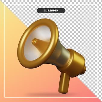 Renderowania 3d ikona złoty megafon na białym tle