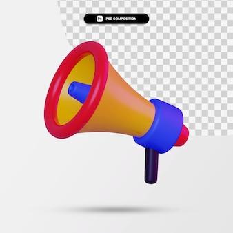 Renderowania 3d ikony minimalne megafon na białym tle