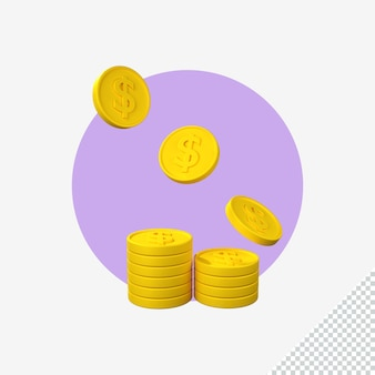 Renderowania 3d ikony monety dolara