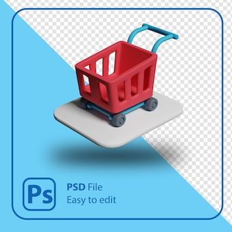 Renderowania 3d ilustracja wózek na zakupy samodzielnie