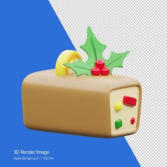 Renderowania 3d keks na boże narodzenie wakacje ikona na białym tle.