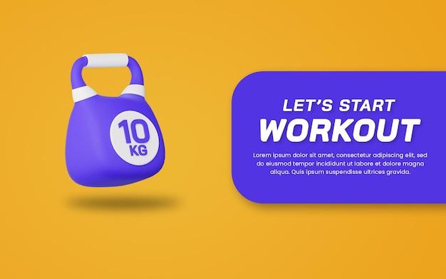 Renderowania 3d kettlebell ikona na białym tle. przydatne do ilustracji sportu. szablon projektu strony internetowej.