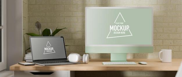 Renderowania 3d komputera z makieta laptopa