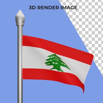 Renderowania 3d koncepcji flagi libanu święto narodowe libanu