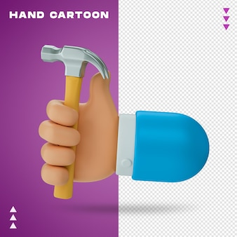 Renderowania 3d kreskówka ręka na białym tle