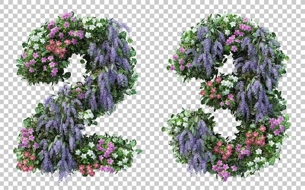 Renderowania 3d kwiat ogród numer 2 i numer 3 na białym tle