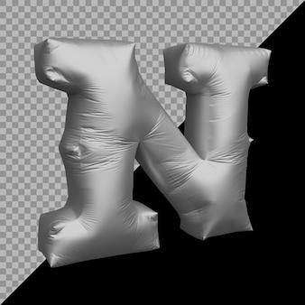 Renderowania 3d litery alfabetu n balon srebrny