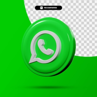 Renderowania 3d logo aplikacji whatsapp na białym tle