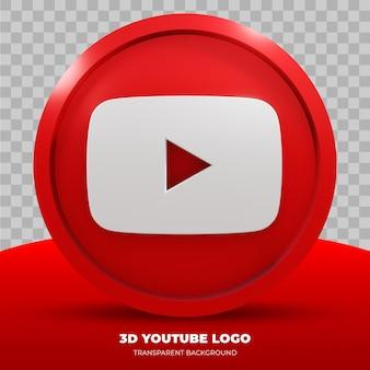 Renderowania 3d logo youtube na białym tle