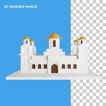 Renderowania 3d meczetu architektura islami na białym tle