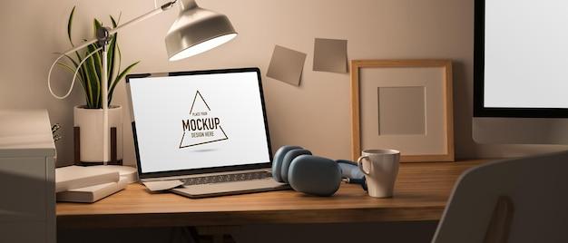 Renderowania 3d minimalny obszar roboczy z makietą laptopa