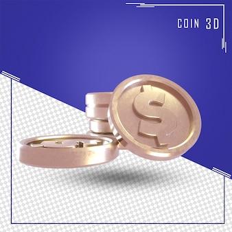 Renderowania 3d monety z ikona dolara na białym tle