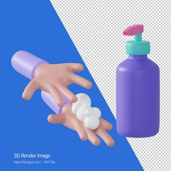 Renderowania 3d mycia rąk na białym tle. umyj ręce trzymaj się z dala od covid-19