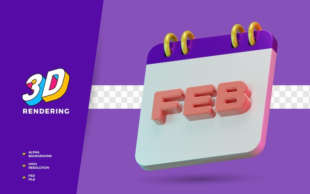 Renderowania 3d na białym tle symbol kalendarzowych miesięcy lutowych do codziennego przypomnienia lub planowania