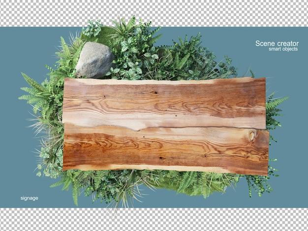 Renderowania 3d naturalnego drewna z roślinami na białym tle