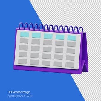 Renderowania 3d obiektu ikony kalendarza tabeli na białym tle.