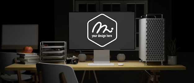 Renderowania 3d obszaru roboczego biura z ekranem makiety komputera
