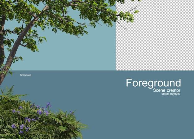 Renderowania 3d pierwszego planu drzew na białym tle